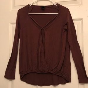 Brown long sleeve shirt w/ criss-cross front